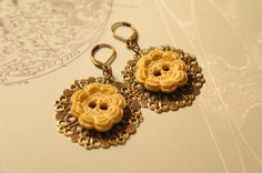 Elegant Vintage Cream Button and Bronze Filigree Dangle Earrings