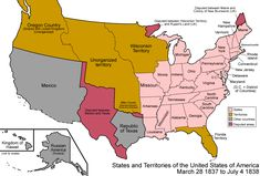 Historical U. map, Most of the eastern states have been established, while the western half remains loosely divided into territories. Mexico and the Republic of Texas share a disputed border. Mexican American War, American History, Canadian History, American Literature, Native American, Us History, Family History, Church History, Texas History