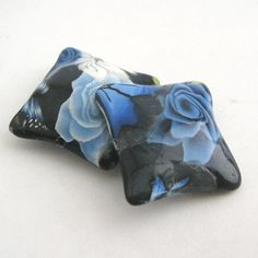 Polymer Clay Beads Winterflower Blue Pillow Bead by tooaquarius, $5.00