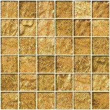 "2"" x 2"" Glass Mosaic Tile in Golden Opal"