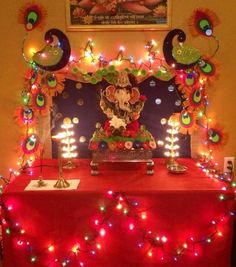 Ganpati Pooja Room Decoration Aarti Thali Decor Rangoli Design