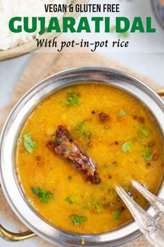 Gujarati Dal is a flavorful yellow lentil soup which you can make in your Instant Pot in just 30 minutes. It is vegan, gluten free, and sure to taste amazing! Serve it with rice, roti, or as a tasty soup. | Yellow Lentil Soup | Gujarati Dal Recipe | #veganindian #instantpotlentils #indianinstantpot #gujarati | pipingpotcurry.com Lentil Recipes, Vegetarian Recipes Dinner, Curry Recipes, Veggie Recipes, Bean Recipes, Vegan Meals, Vegan Food, Free Recipes, Stove Top Recipes