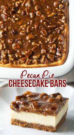 Winter Torte, Delicious Desserts, Yummy Food, Easy Desserts To Make, Pecan Desserts, Awesome Desserts, Classic Cheesecake, Pecan Pie Cheesecake Bars Recipe, Cheescake Bars