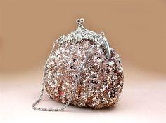 On Sale 35% OFF --Sparkly Peach Wedding Purse Evening Clutch. $30.50, via Etsy.
