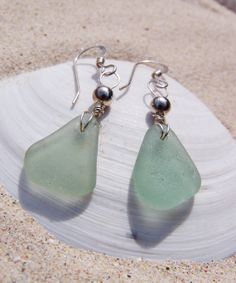 Sea Glass Earrings  Sea Foam Triangles Silver Bead Accents by SilverBeachSeaGlass, $24.00