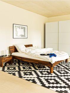 Micasa Schlafzimmer mit Bett und Nachttisch aus dem Programm CARA Sofa, Animal Print Rug, Rugs, Moment, Table, Furniture, Home Decor, Projects To Try, Ethnic