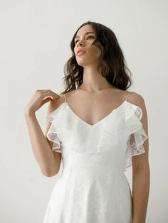 RIANNE GOWN — Davie & Chiyo Ivory Wedding Veils, Lace Wedding, Wedding Dresses, Lace Ruffle, Lace Dress, Skirt Fashion, Bridal Gowns, Ethereal, Final Sale