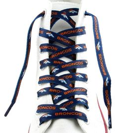"""DENVER BRONCOS TEAM SHOE LACES 54"""" *LACEUPS* GAME DAY PARTY NFL FOOTBALL"""