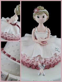 If only I had a ballerina. Love the way the skirt is done. Ballet Cakes, Dance Cakes, Ballerina Cakes, Fondant Toppers, Fondant Cakes, Cupcake Cakes, Cupcakes, Fondant Figures, Pretty Cakes