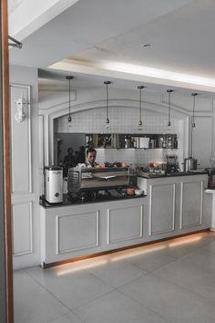 Cafe Interior, Kitchen Cabinets, Home Decor, Decoration Home, Room Decor, Kitchen Base Cabinets, Cafe Interiors, Dressers, Kitchen Cupboards