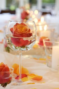 New Wedding Table Decorations Cheap Wine Glass Ideas Orange Wedding Centerpieces, Simple Elegant Centerpieces, Wine Glass Centerpieces, Orange Wedding Flowers, Centerpiece Ideas, Wedding Decorations, Table Decorations, Diy Flowers, Glass Vase