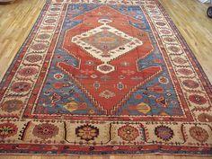 "Persian: Geometric 14' 8"" x 9' 5"" Serapi Bakshaish at Persian Gallery New York - Antique Decorative Carpets & Period Tapestries"