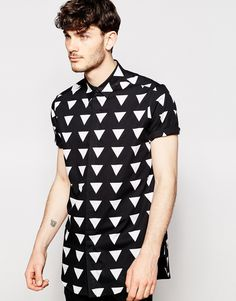 Image 1 ofASOS Longline Shirt With Short Sleeves And Triangle Print