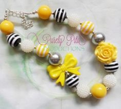Chunky Necklace, Girls Bubblegum Chunky Necklace, Yellow Black Grey White Beads Necklace, Resin Bow and Rose Necklace, Children Necklace.