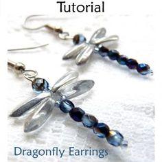 Beaded Dragonfly Earrings PDF Beading Pattern | Simple Bead Patterns