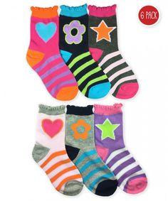 923c6b8ab Jefferies Socks Girls Stars Daisies Hearts Crew 6 Pair Pack Fluffy Socks