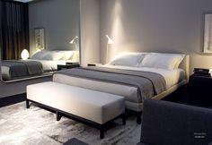 Кровать с мягким изголовьем Rogers на металлическом основании, Meridiani