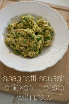 Spaghetti squash chicken and pesto with peas--using spaghetti squash for pasta. Husband approved!