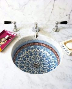 More Snyder blended Italian and Moroccan influences in the painted porcelain sink basins featured in each guest bathroom.Snyder blended Italian and Moroccan influences in the painted porcelain sink basins featured in each guest bathroom. Bathroom Inspiration, Interior Inspiration, Bathroom Ideas, Bathroom Renovations, Remodel Bathroom, Budget Bathroom, Bathroom Hacks, Bathroom Makeovers, Shower Remodel