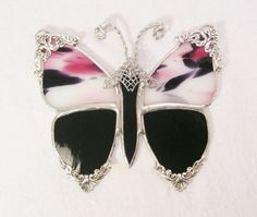 Victorian Butterfly Black and Pink Polkadot by MoreThanColors, $32.50