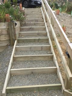 Backyard Idea Backyard In 2019 Garden Stairs Backyard Garden Stairs, Terrace Garden, Garden Paths, Lawn And Garden, Steep Gardens, Back Gardens, Outdoor Gardens, Outdoor Projects, Garden Projects