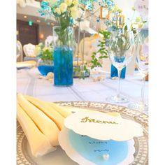 【m_happywedding】さんのInstagramをピンしています。 《#模擬結婚式 #AQUADREAM #披露宴会場 #テーブル装飾 #貝殻 #メニュー表 #トーション #海 #学生  #produce  #NWFB》
