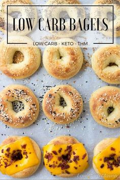 An easy low carb bagel recipe perfect for grab and go low carb breakfasts and keto lunch ideas. An easy low carb bagel recipe perfect for grab and go low carb breakfasts and keto lunch ideas. Keto Bagels, Low Carb Bagels, Low Carb Bread, Keto Bread, Low Carb Keto, Low Carb Recipes, Healthy Recipes, Healthy Menu, Pan Bread