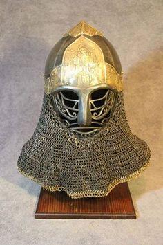 Prince Yaroslav helmet by Vrin Thomasino ttps://www.facebook.com/groups/unitedleagueofarmourers/permalink/908225885984717/ Medieval Knight, Medieval Armor, Medieval Fantasy, Sca Armor, Viking Reenactment, Female Armor, Wood Carving Art, Helmet Design, Fantasy Armor