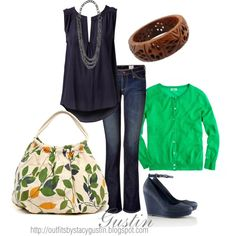 navy and green, created by stacy-gustin...loooveee the outfit!! would wear to work with shorter shoes ~=)