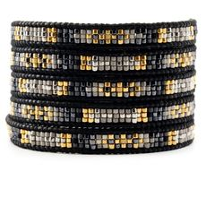Gold Mix Beaded Wrap Bracelet on Natural Black Leather | CHAN LUU