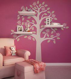 Flowering Tree Shelves Kids Room Wall Decal