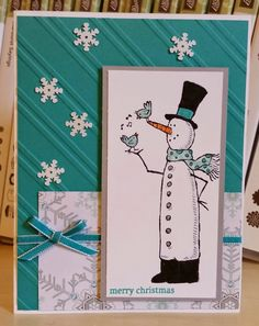 SU! Snow Much Fun and Holiday Home (sentiment) stamp sets; Winter Frost DSP stack (retired); colors are Smoky Slate and Bermuda Bay - Windy Ellard