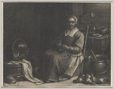 GRABADO MEZZOTINTO - Método de Grabado Directo - La Peladora de Fruta, 1670 aprox - El Mezzotinto nació en Alemania s. XVII y se perfeccionó en Holanda y de ahí pasó a Inglaterra con un gran éxito en el siglo XVIII y parte del XIX