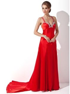 0b88c23fd5241 Sheath Sweetheart Watteau Train Charmeuse Prom Dress With Beading Appliques  Sequins (018002512)