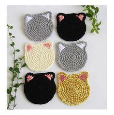 Cat Face Coasters set of 6 Crochet Cat Head Coasters Cat