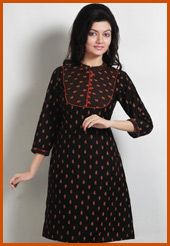 Black cotton readymade block printed tunic. Bottom shown in the image is for photography purpose. (Slight variation in color and patch border is possible.)