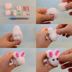 This adorable DIY pom poms bunny is a perfect craft to do with kids!