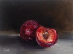 """Plum and a half #548"" daily painting by Heidi Shedlock"