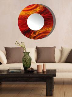 Red, Orange & Yellow Modern Metal Wall Art Mirror, Large Abstract Wall Accent Decor, Round Contemporary Mirror Art - Mirror 116 by Jon Allen