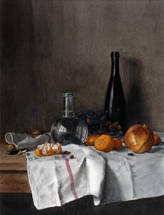 Léon Bonvin  French, 1864  Still Life with Wine, Water, Fruit, Nuts as seen on linen & lavender (l)