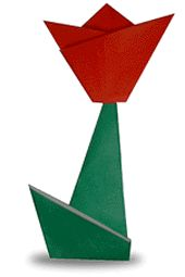 Origami Tulip. My wedding will have red tulips. Maybe I can incorporate
