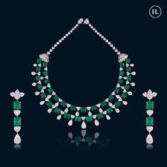 Trendy Jewelry, Cute Jewelry, Jewelry Art, Jewelry Design, Jewellery, Emerald Jewelry, Diamond Jewelry, Hazoorilal Jewellers, Real Diamond Necklace