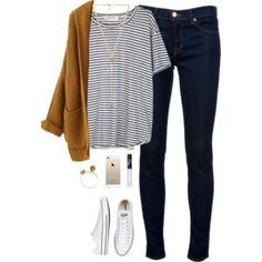 Camel cardigan, black striped top, black skinny jeans, white tennies