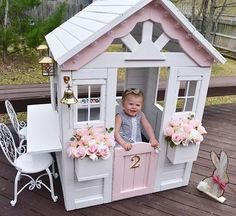 Building your little one a playhouse in the backyard will surely make them happy. There are a few things you should know before you build a playhouse for kids. Girls Playhouse, Backyard Playhouse, Build A Playhouse, Backyard Playground, Playhouse Decor, Wooden Playhouse, Painted Playhouse, Playhouse Ideas, Inside Playhouse
