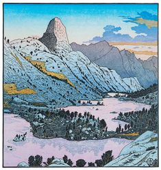 Fin Dome from Rae Lakes, 2012 ~ Woodcut, 15 x 14 inches ~ Tom Killion