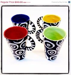 ON SALE Set of Tall Mugs with bold color inside and by Mayware