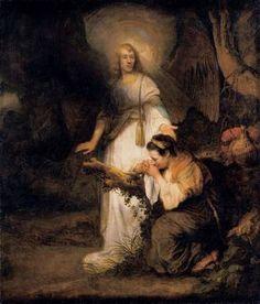 "Carel Fabritius ""Hagar and the Angel"" Oil on canvas, 158 cm x 136 cm, Residenzgalerie, Salzburg Rembrandt, Delft, Arte Judaica, Dutch Golden Age, Angel Pictures, Portraits, Dutch Painters, Art Database, Bible Stories"