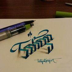 Turkish calligrapher and graphic designer Tolga Girgin creates incredible calligraphic illustrations. Creative Typography, Graffiti Lettering, Typography Letters, Brush Lettering, Typography Design, Typography Inspiration, 3d Letters, Letter Art, 3d Writing