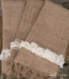 Burlap Fringe Decorative Towels. Maybe a little rough for towels, like this idea for curtains maybe