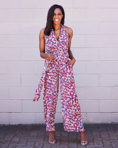 Printed jumpsuit and heels | For more style inspiration visit 40plusstyle.com